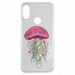 Чехол для Xiaomi Redmi Note 7 Jellyfish and flowers