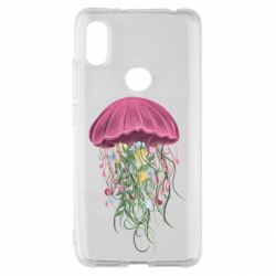 Чехол для Xiaomi Redmi S2 Jellyfish and flowers