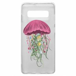 Чехол для Samsung S10+ Jellyfish and flowers
