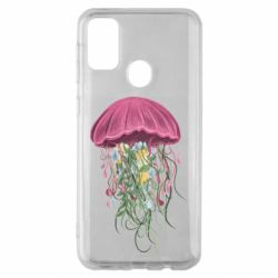 Чехол для Samsung M30s Jellyfish and flowers