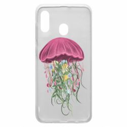 Чехол для Samsung A30 Jellyfish and flowers