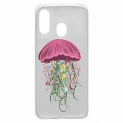 Чехол для Samsung A40 Jellyfish and flowers