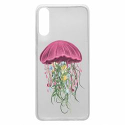 Чехол для Samsung A70 Jellyfish and flowers