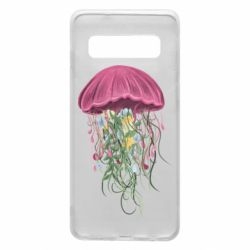 Чехол для Samsung S10 Jellyfish and flowers