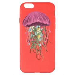 Чехол для iPhone 6 Plus/6S Plus Jellyfish and flowers