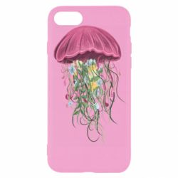 Чехол для iPhone 7 Jellyfish and flowers
