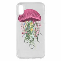 Чехол для iPhone X/Xs Jellyfish and flowers
