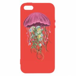 Чехол для iPhone5/5S/SE Jellyfish and flowers