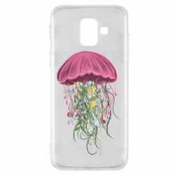 Чехол для Samsung A6 2018 Jellyfish and flowers