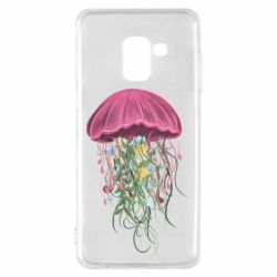 Чехол для Samsung A8 2018 Jellyfish and flowers