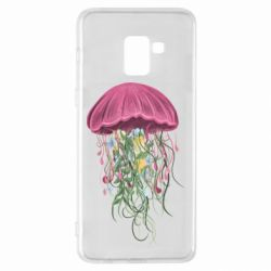 Чехол для Samsung A8+ 2018 Jellyfish and flowers