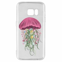 Чехол для Samsung S7 Jellyfish and flowers