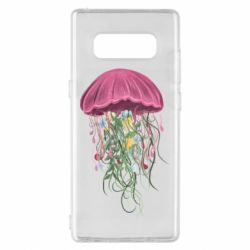 Чехол для Samsung Note 8 Jellyfish and flowers