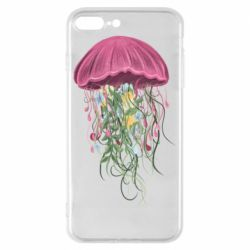 Чехол для iPhone 8 Plus Jellyfish and flowers