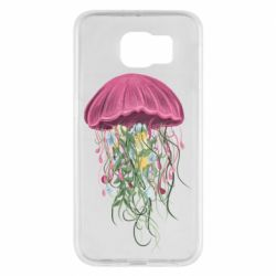 Чехол для Samsung S6 Jellyfish and flowers