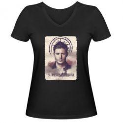 Женская футболка с V-образным вырезом Jensen Ackles - FatLine