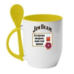Кружка з керамічною ложкою Jim beam accident