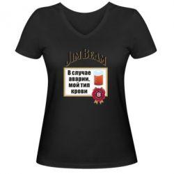 Жіноча футболка з V-подібним вирізом Jim beam accident