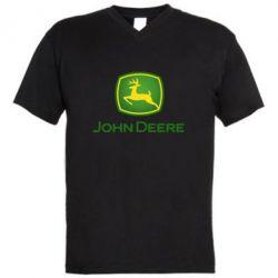 Чоловіча футболка з V-подібним вирізом John Deere logo