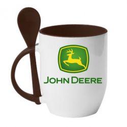 Кружка з керамічною ложкою John Deere logo