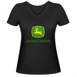 Жіноча футболка з V-подібним вирізом John Deere logo