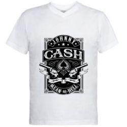 Чоловіча футболка з V-подібним вирізом Johnny cash mean as hell