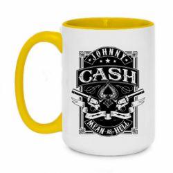 Кружка двоколірна 420ml Johnny cash mean as hell