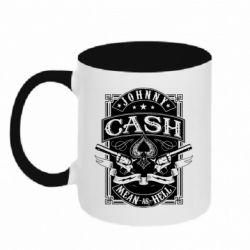 Кружка двоколірна 320ml Johnny cash mean as hell