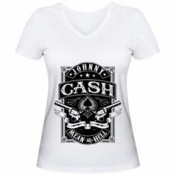 Жіноча футболка з V-подібним вирізом Johnny cash mean as hell