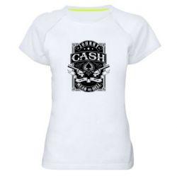 Жіноча спортивна футболка Johnny cash mean as hell
