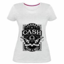 Жіноча стрейчева футболка Johnny cash mean as hell