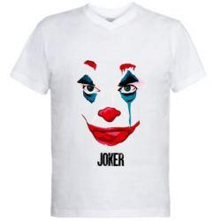 Мужская футболка  с V-образным вырезом Joker face