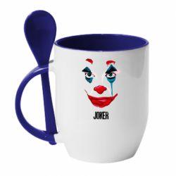 Кружка с керамической ложкой Joker face