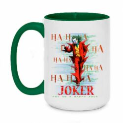 Кружка двухцветная 420ml Joker ha ha ha put on happy face