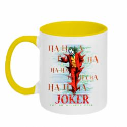 Кружка двухцветная 320ml Joker ha ha ha put on happy face