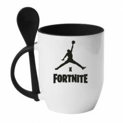 Кружка с керамической ложкой JORDAN FORTNITE