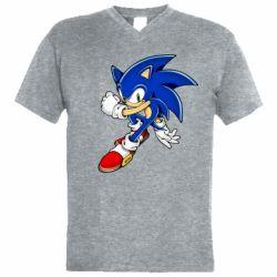Чоловіча футболка з V-подібним вирізом Ёж Соник