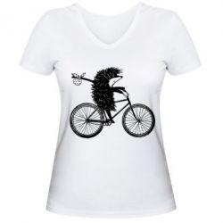 Женская футболка с V-образным вырезом Ёжик на велосипеде, FatLine  - купить со скидкой