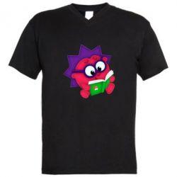 Мужская футболка  с V-образным вырезом Ёжик