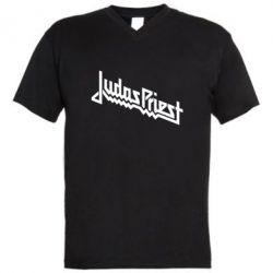 Мужская футболка  с V-образным вырезом Judas Priest Logo - FatLine
