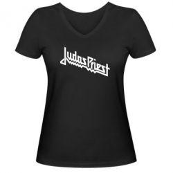 Жіноча футболка з V-подібним вирізом Judas Priest Logo - FatLine