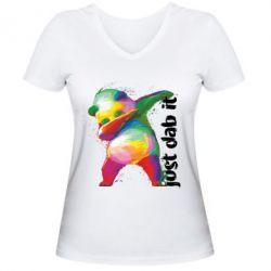 Жіноча футболка з V-подібним вирізом Just dab it