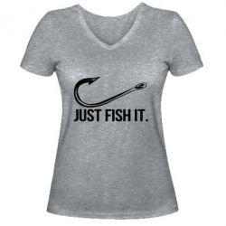 Жіноча футболка з V-подібним вирізом Just Fish It