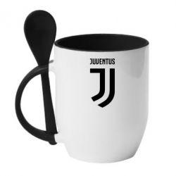 Кружка с керамической ложкой Juventus Logo