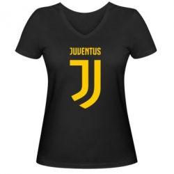 Женская футболка с V-образным вырезом Juventus Logo