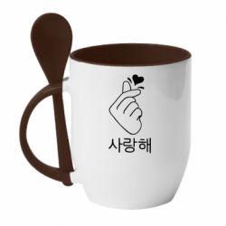Кружка с керамической ложкой K-pop - FatLine