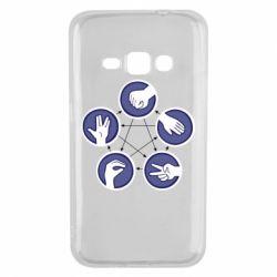 Чехол для Samsung J1 2016 Камень, ножницы, бумага, ящерица, спок - FatLine
