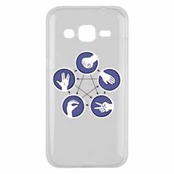 Чехол для Samsung J2 2015 Камень, ножницы, бумага, ящерица, спок - FatLine