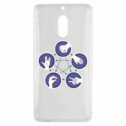 Чехол для Nokia 6 Камень, ножницы, бумага, ящерица, спок - FatLine