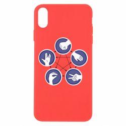 Чехол для iPhone Xs Max Камень, ножницы, бумага, ящерица, спок - FatLine